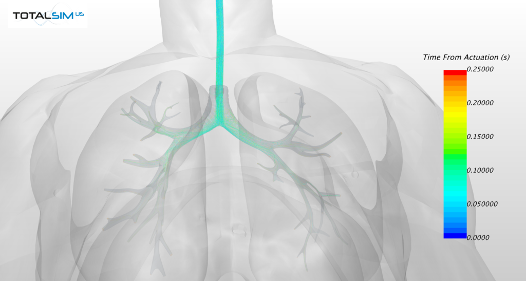 Streamlines tracking medication into lungs